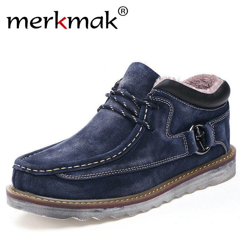 73d5abe9a06 Merkmak Autumn Winter Genuine Leather Casual Men Shoes Snow Warm Velvet  Vintage Classic Male Ankle Boots Thick Sole Footwear Work Boots Knee High  Boots From ...