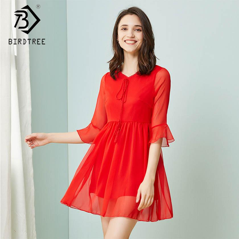 New Women Plus Size Solid Lace Up Tassel Draped Dress Chiffon V Neck Half  Flare Sleeve Elegance High Waist Casual Dress D91629I