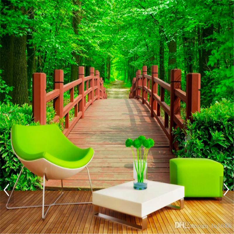 Customized 3d Photo Wallpaper Nature Park Wooden Bridge Garden Landscape Background Wallpaper Natural Scenery Wallpaper For Living Room High Resolution ...