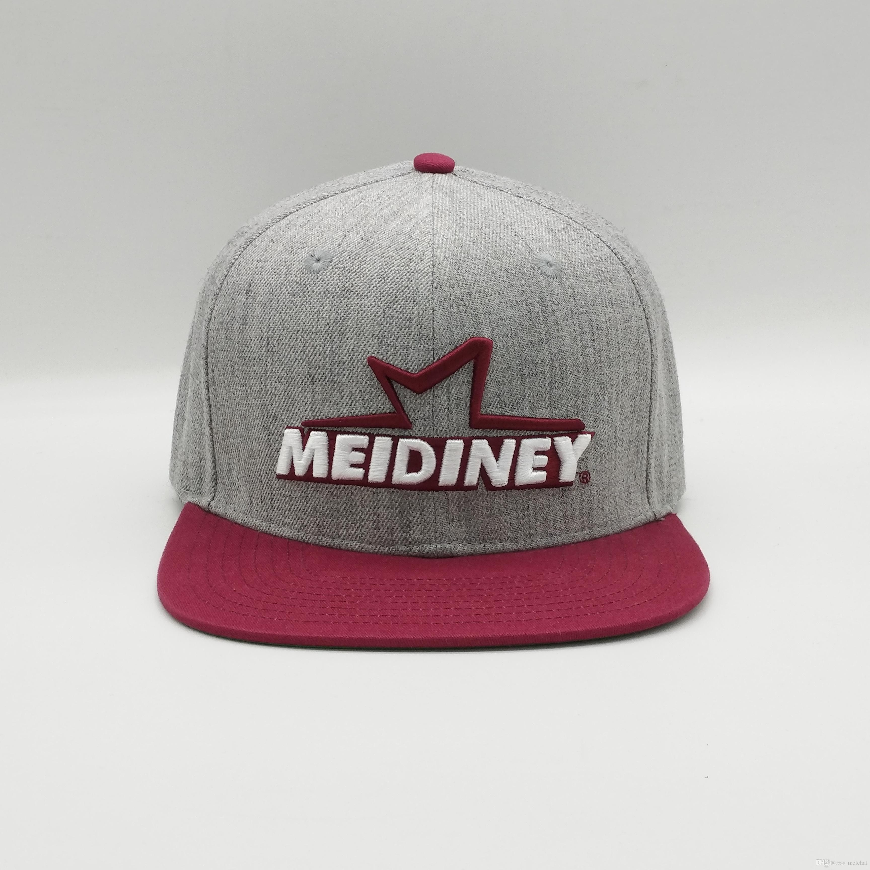 99216c4ee3a 2019 Meidiney Good Quality Unisex Green Underbrim Heather Grey Wool White 3D  Embroidery Snapback Caps Hat From Melehat