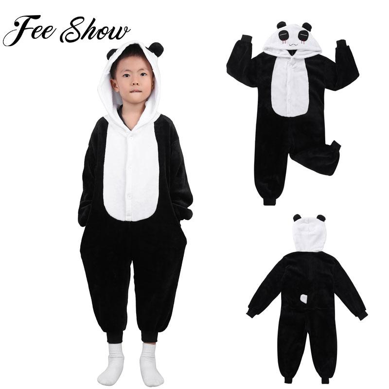 6eee6c46d36e Kids Cute Animals Panda Hooded Pajamas Sleepwear Boys Girls Carton ...
