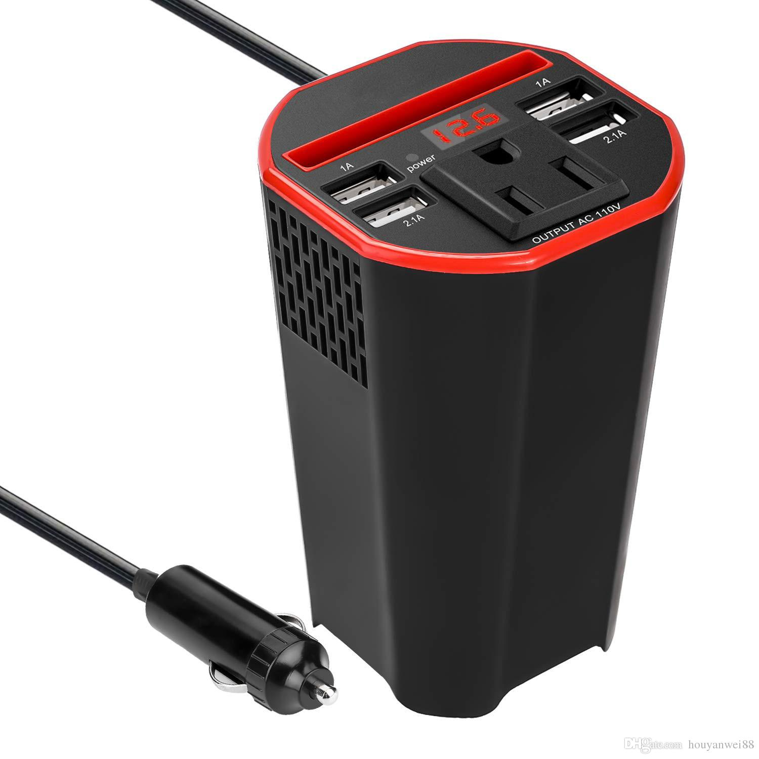 150W Car Power Inverter DC 12v to 110v AC Converter with Digital Display 6.2A 4 USB Ports Car Cup Holder Charger Adapter Red