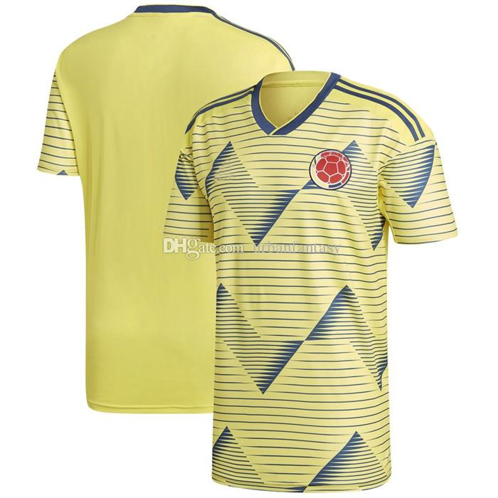 finest selection d9f4a 31df0 Men Colombia New National Team Soccer 2019 Home Replica Blank Football  Jersey Yellow T Shirts Size S-XL