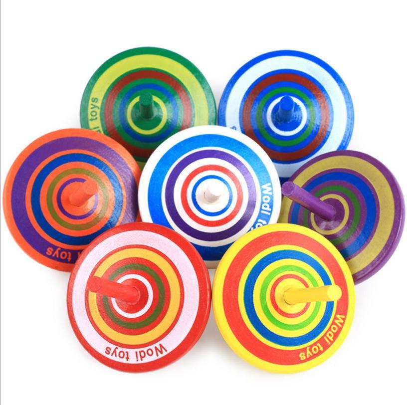 Classic Top Juguetes Mini Multicolor Para Gyro Juguete Aprendizaje Dibujos Madera Educativos De Niños Spinning Animados A45L3qjR