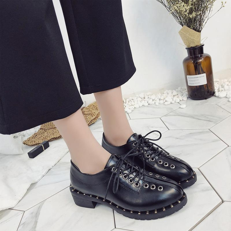 f67fc534e86 Designer Dress Shoes Fashion Rivets Faux Leather Booties Buckle Straps  Thick Heel Black Ankle Women Studded Decorated Woman Motorcycle White  Mountain Shoes ...