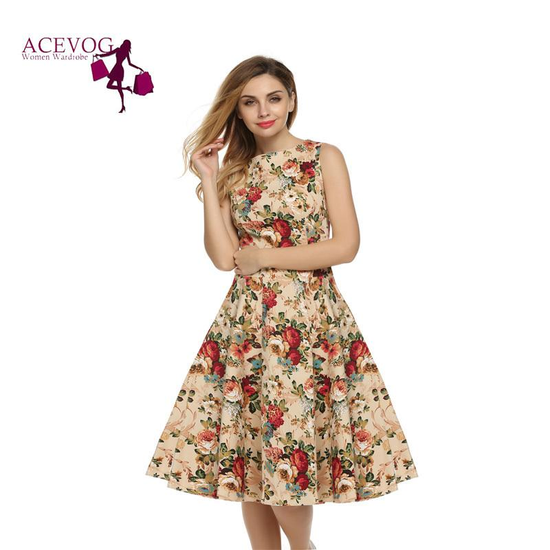 20e76c5bf4c 2019 Acevog Women Dress Retro Vintage 1950s 60s Rockabilly Floral Swing  Summer Dresses Elegant Bow Knot Tunic Vestidos Robe Oversize Y19012201 From  Jinmei03 ...