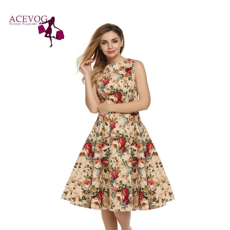 ae5fa88e8a Acevog Women Dress Retro Vintage 1950s 60s Rockabilly Floral Swing Summer  Dresses Elegant Bow-knot Tunic Vestidos Robe Oversize Y19012201