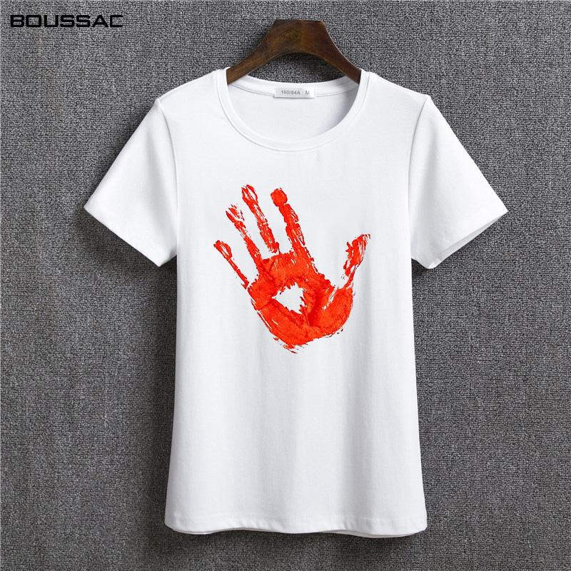 d380947da1 Female T Shirt Fashion Streetwear Harajuku Kawaii Shirt Bloody Hand Print Graphic  Tees Women Clothes White Casual Cotton Tshirts Funny Ts T Shirts Buy From  ...