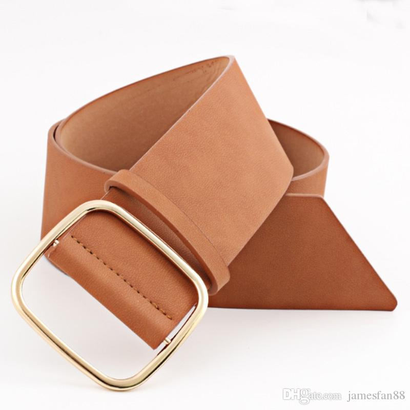 689152374 Vintage Women's Wider Square Buckle Belt Ladies Dress Vegan Gold Buckle  Waist Belt Gift Gunmetal Buckle Faux Leather PU Hip Belt