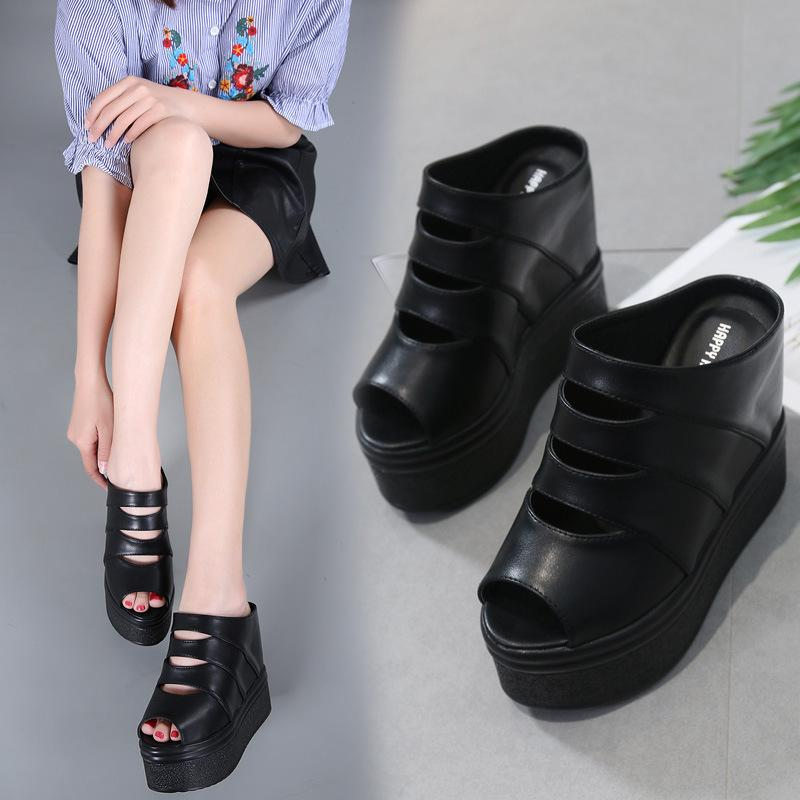 Hot2019 Sandals Fund Woman Thick Bottom Muffin Sexy High Non-slip One Word Slope With Cool Slipper