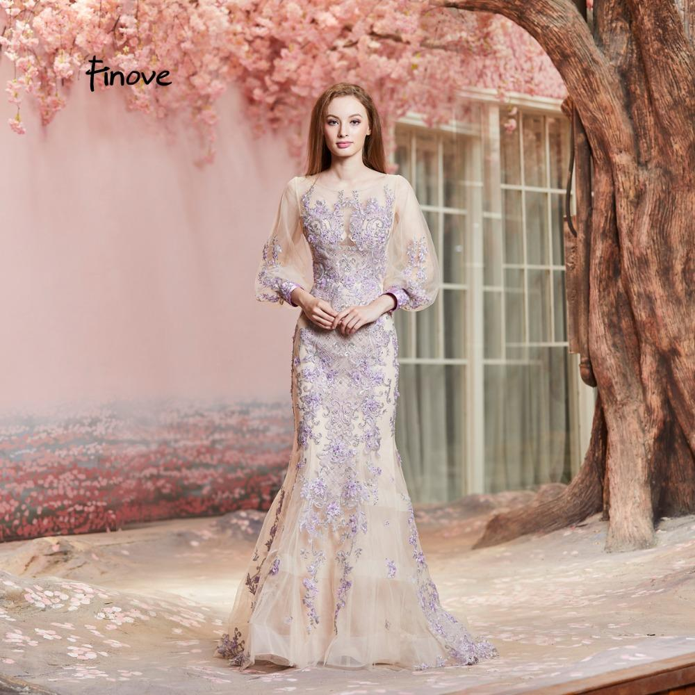Finove Fall New Evening Dress Long 2019 Robe de soiree Full Sleeves Tulle Chic Appliques Crystals Woman Party Dresses Plus Size#13573