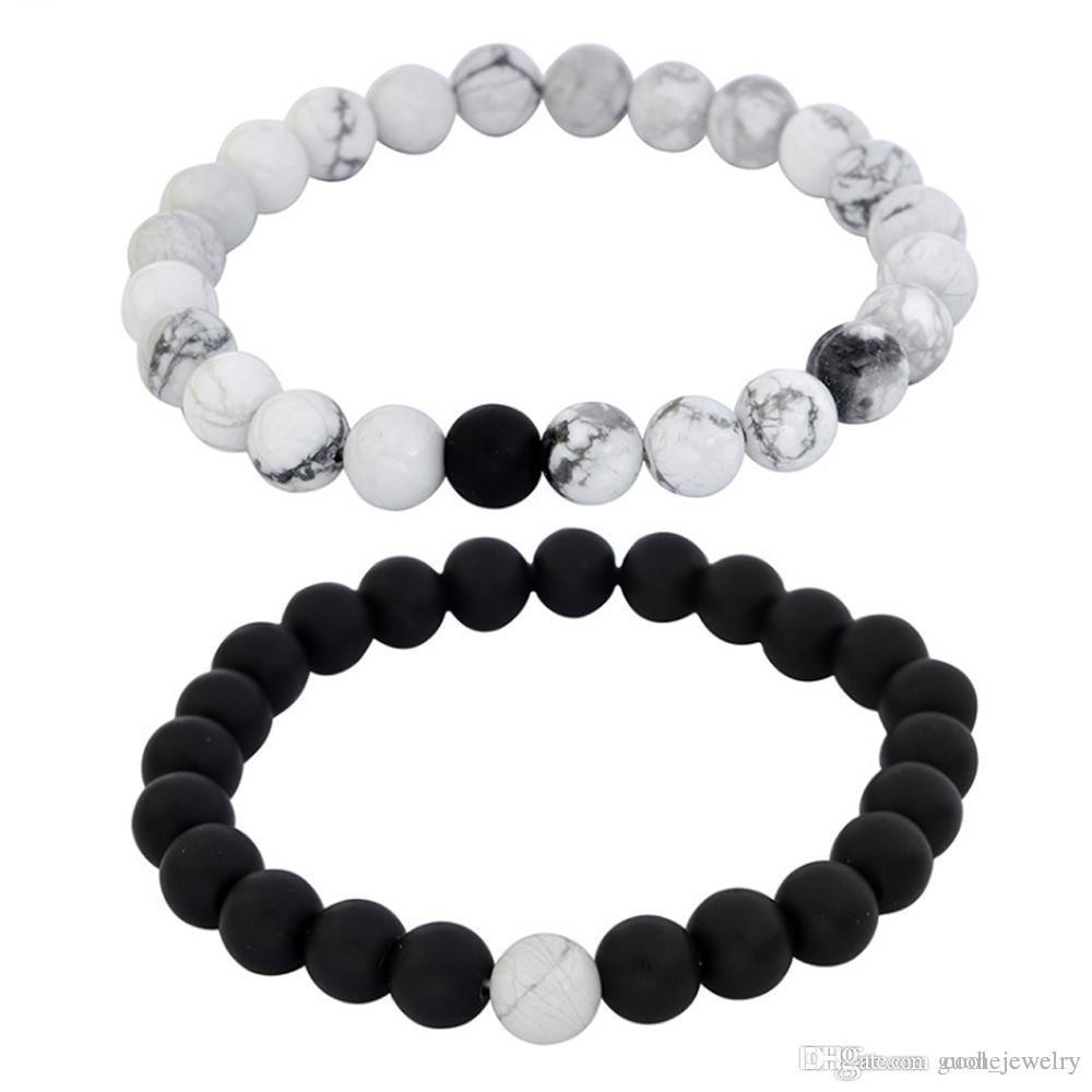 e06ac965e Amazon Hot Sale DIY Jewelry Frosted Stone White Turqoise Stone Lava Stone  8mm Set Natural Bead Bracelet Wholesale Silver Jewelry Childrens Silver  Charm ...