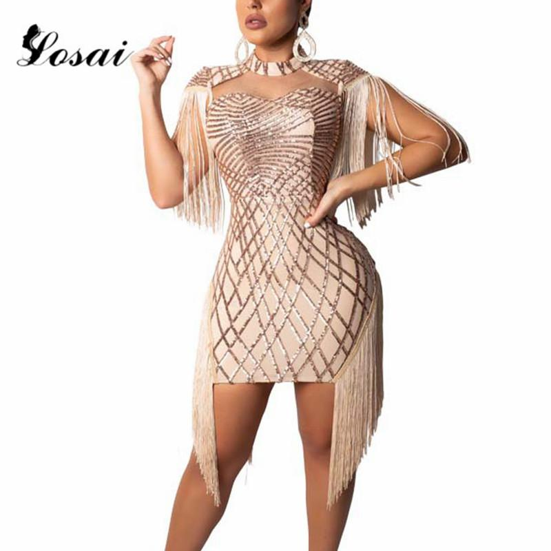 37767b09d8 Sequins Dress Women Birthday Bright Vestido Sexy Costume Prom Celebrate  Dresses Bling Mirrors Dresses Evening Outfit Vestidos
