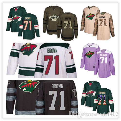 online retailer de043 c035a Minnesota Wild jerseys #71 J.T. Brown Jersey hockey men women youth  Authentic green home white away Stiched Fanatics USA FLAG Jerseys