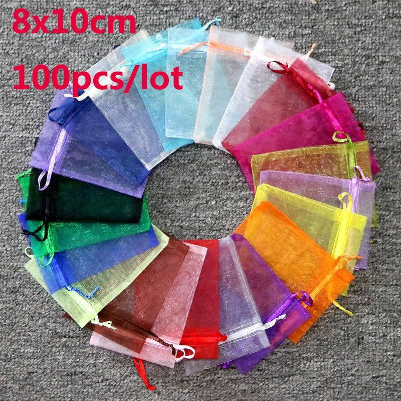 100pcs 20Colors Jewelry Bag 8x10cm Small Wedding Gift Organza bag Jewelry Packaging Display & Jewelry Pouches for Earring