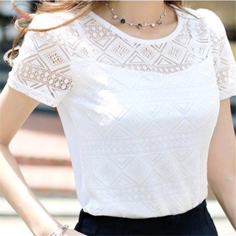 New Women Clothing Chiffon Blouse Crochet Female V Neck Korean Shirts Ladies White Tops Shirt Blusas Blouses Slim Fit Tops