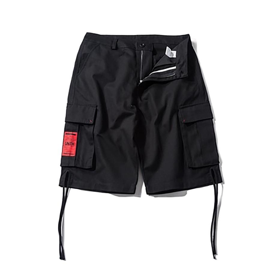 Ribbions Black Cargo Shorts Men Casual Multi Pocket Streetwear Summer Hip Hop Jogger Japanese Men Short Masculino S6T52