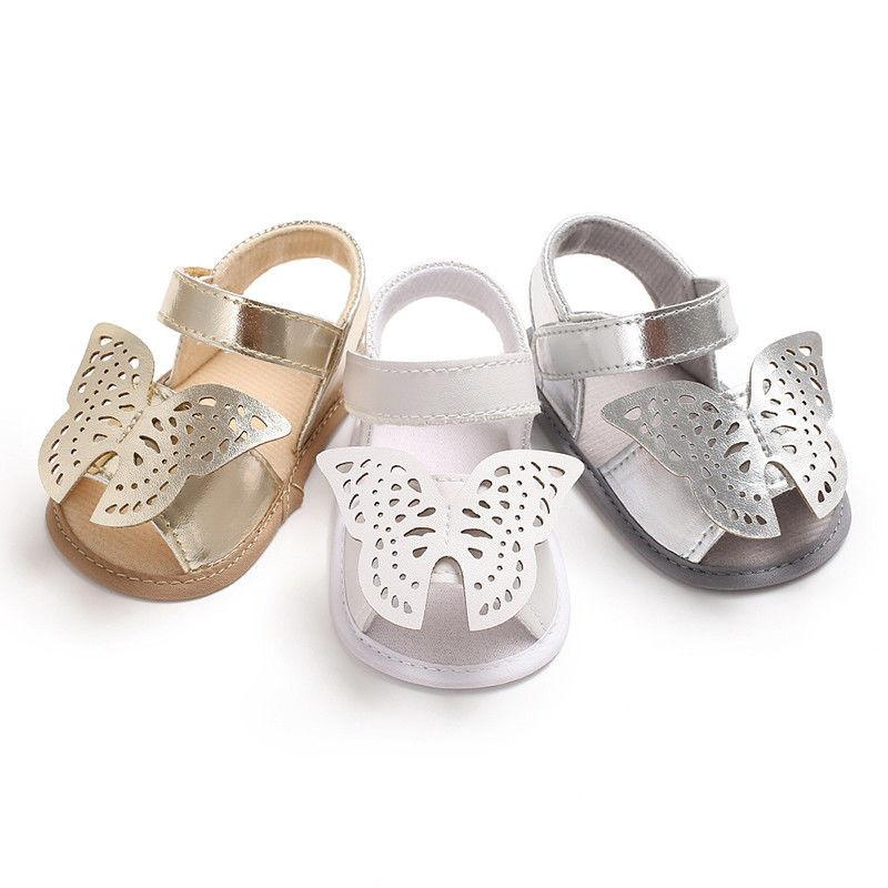 Cute Infant Baby Boys Girls Summer Sandals Hot Sale Newborn Baby Princess Sole Prewalker Soft Shoes Butterfly Sandals For 0-18M B11