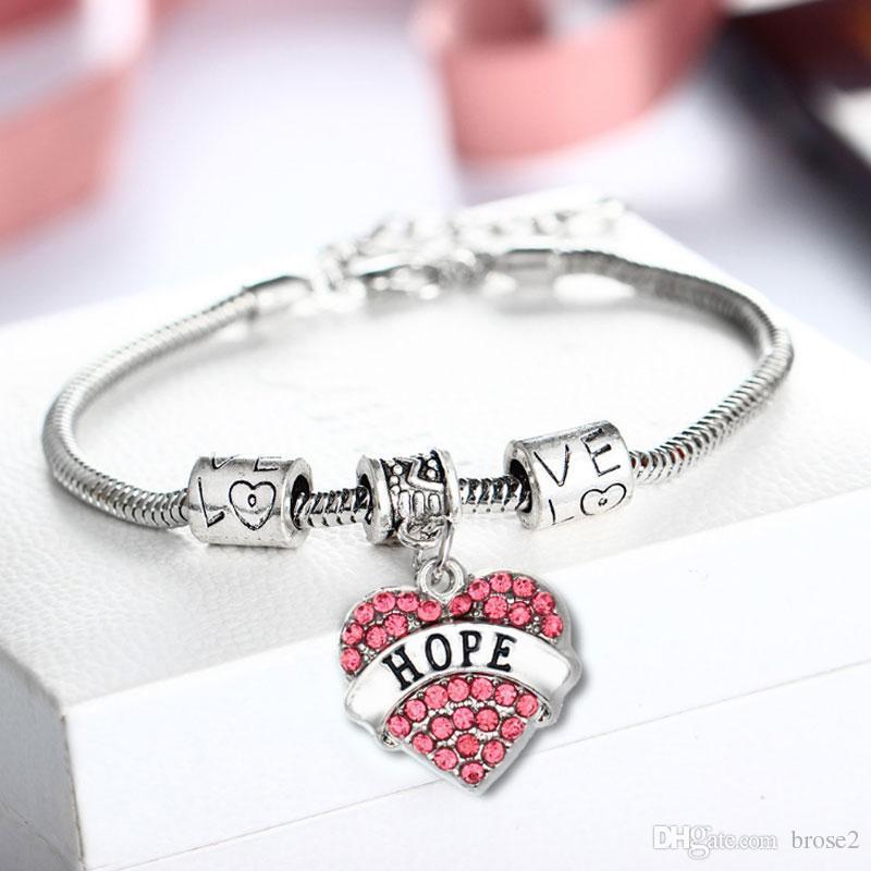 4b6296902 Compre Explosivos Membro Da Família Estourar Pulseira Coração Liga Diamante  Pêssego Coração Moda Simples De Fandera