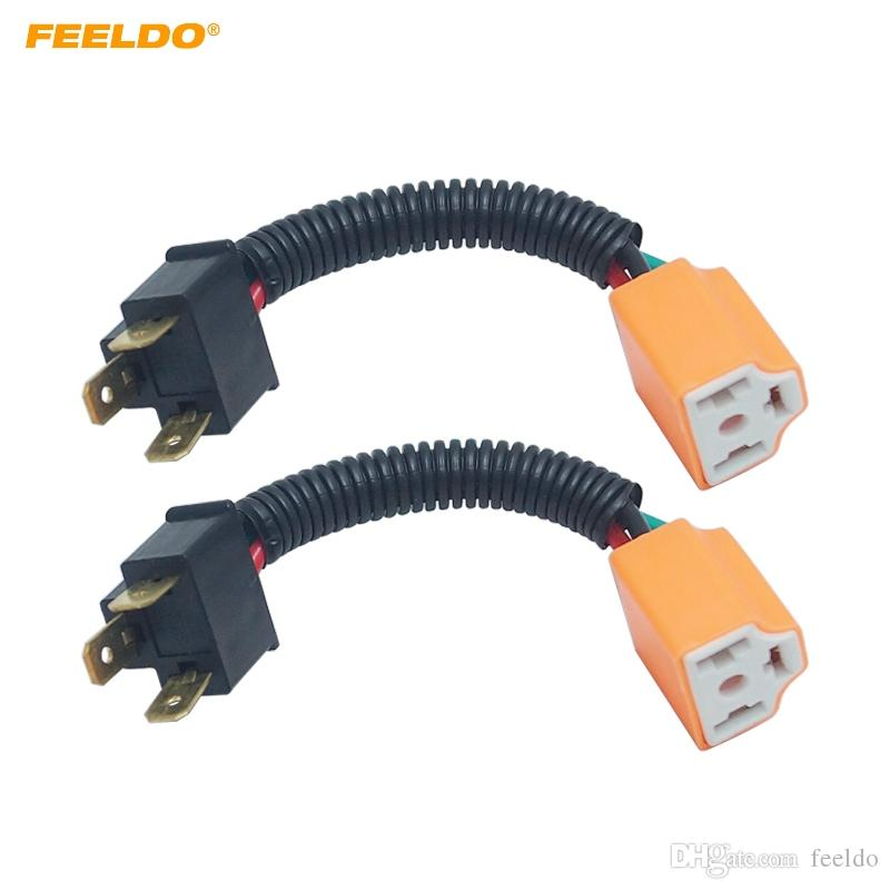 Stupendous 2019 Feeldo Car H4 Male To Femal Ceramic Socket Ceramic Wiring Wiring Database Gramgelartorg