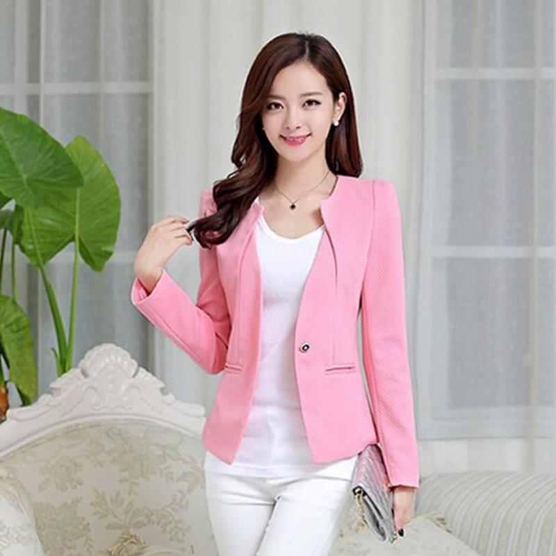 2019 Spring Women Slim Blazer Coat New Fashion Casual Jacket Long Sleeve One Button Suit Ladies Blazers Work Business Suits Wholesale