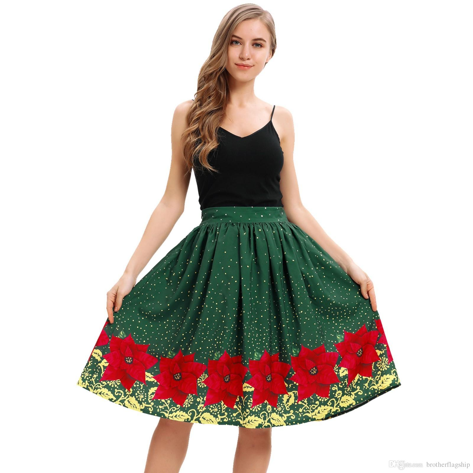 64919145fd8b4 Fashion Women Casual Christmas Santa Flare Elastic High Waist Cosplay Ball  Gown Skirt Party Skirts