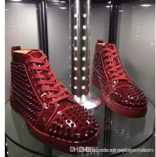 05ce1e43acc Special Offer 2017 Suede   Black Rhinestone Strass Red Bottom Shoes Men  Women S Flat Red Sole Shoes High Top Sneaker Lace Up Casual Sho Shoes For  Women ...