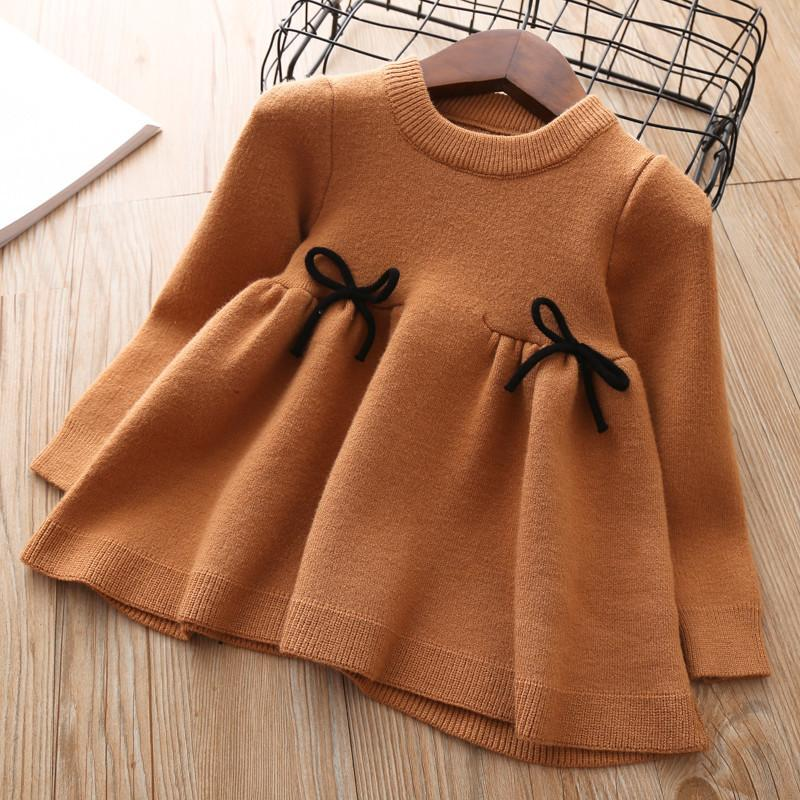 Baby Girls Knitted Dress 2018 Autumn Winter Clothes Children Toddler Tops Shirts For Girl Kids Princess Cotton Christmas Dresses Y190515