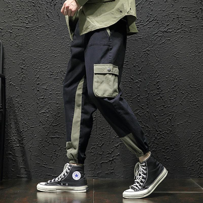 #2102 Japanese Streetwear Plus Size 5XL Loose Cargo Pants Men Joggers With Side Pockets Hip Hop Harem Pants Baggy Black/Green
