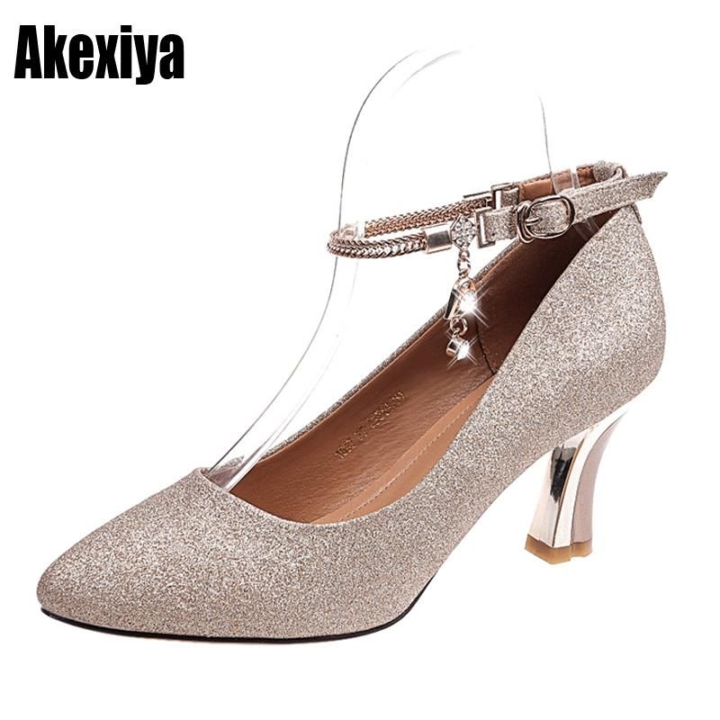 e1664641302d6 Dress Shoes Fashion Buckle Crystal Bling Pumps Women Elegant High Heels  Point Toe Party Wedding Woman Sexy Bridal Pumps Stiletto D987 Oxford Shoes  Ladies ...