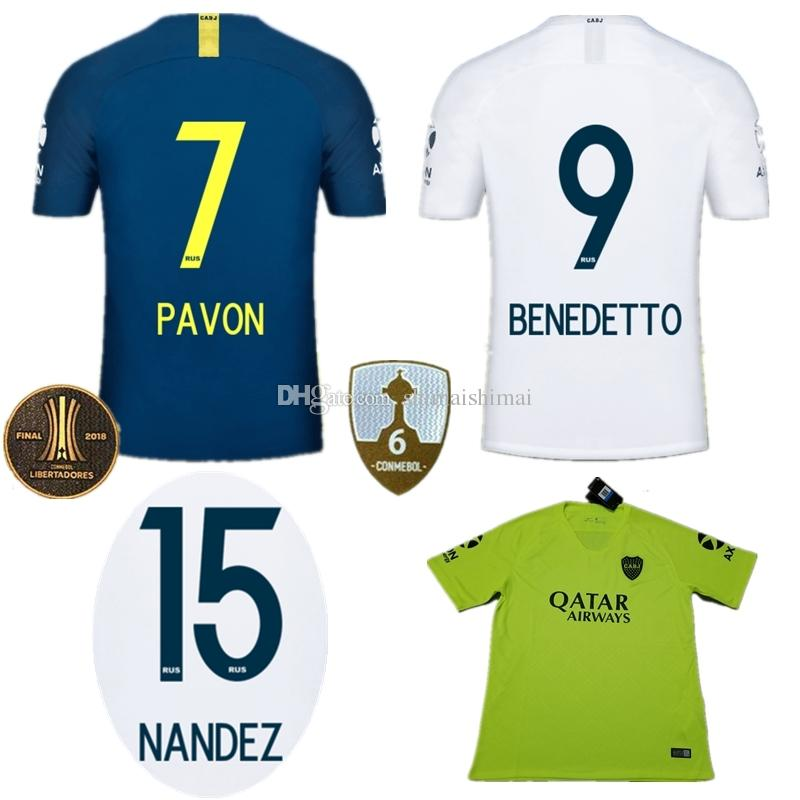 d0d3b4093286f Compre 7 PAVON 9 Benedetto 15 Nández 18 19 Boca Juniors Camisa De Futebol  Top Tailândia 2019 Camisa De Futebol Uniforme Camiseta De Futbol Home Away  De ...