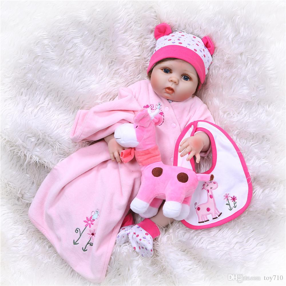 Full Body Silicone Reborn Baby Doll kids Playmate Gift For Girls 55CM Baby  Alive Soft Toys For Bouquets Doll Bebe Reborn