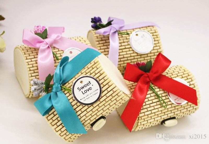 Vintage Forest Wedding Candy Box Bamboo Gift Packing Favor Boxes Chic Rustic Wedding and party Decoration W8543