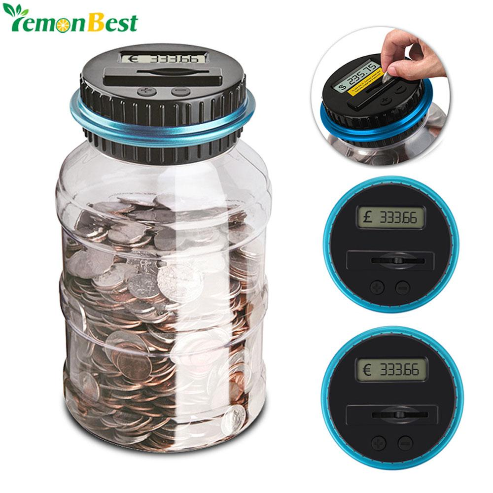 Home Decor Money Boxes 1.8L Piggy Bank Counter Coin Electronic Digital LCD Counting Coin Money Saving Box Jar Coins Storage Box For