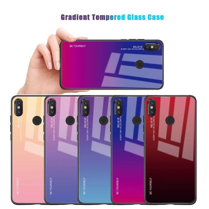 timeless design 3cc56 a664b Gradient Tempered Glass Case For Xiaomi Pocophone F1 Mi 8 6 A2 Lite A1 Mi8  Mi6 Redmi Note 5 6 Pro Mi6X Mi5X Phone Cases Cover