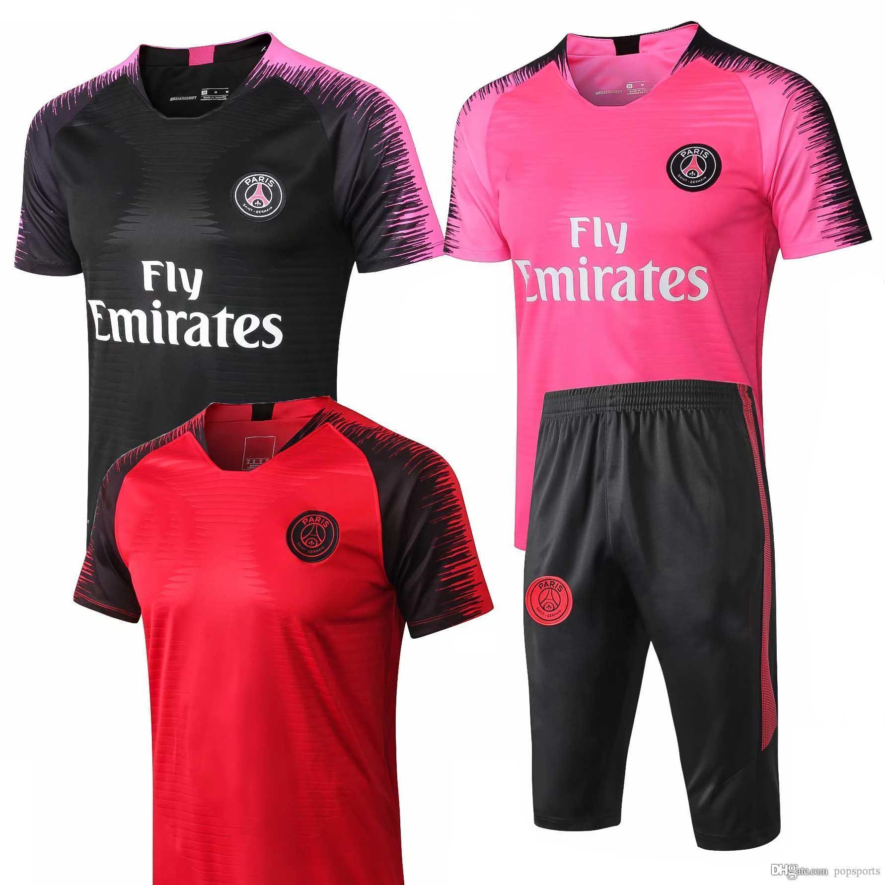 low cost 7a8cc b612d top 2018 2019 psg tracksuit 18/19 Paris MBAPPE om short sleeve Football  shirt kit pre match Training 3/4 pants uniform chandal