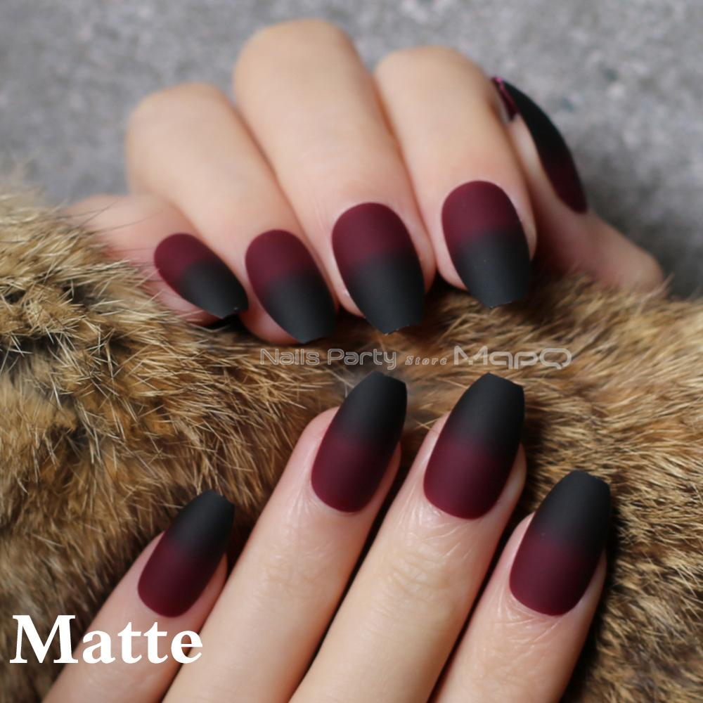 Coffin Matte Red Black Gradient Fake Nail Glossy Nails Black Red ...