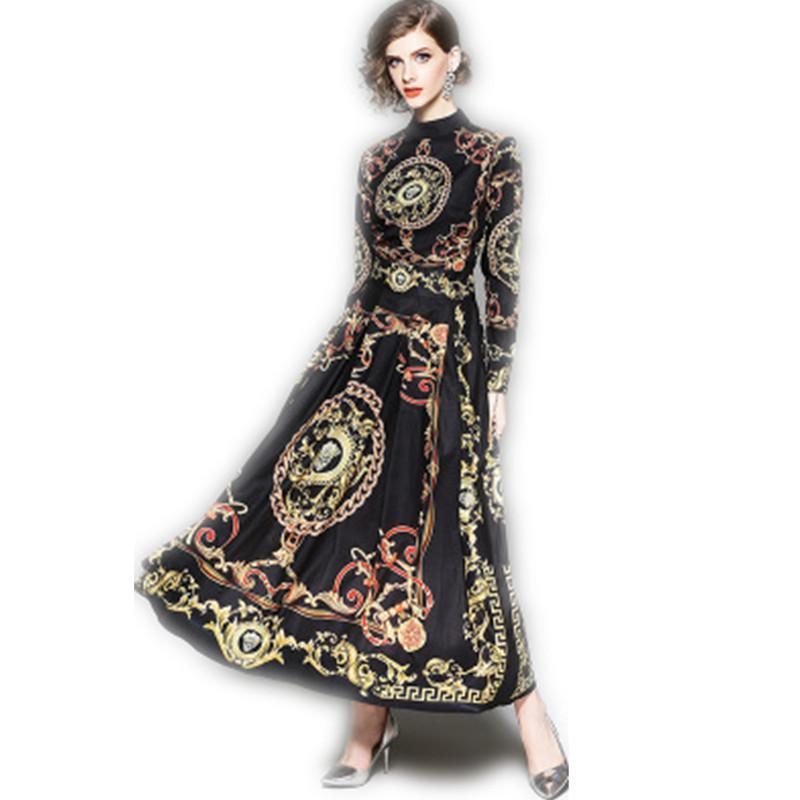 meet 0549f eb5f8 Marke Herbst Kleid Damenmode Elegant Langarm Stehkragen Print Casual Büro  Maxi Langarm Shirt Kleider Größe M-2XL