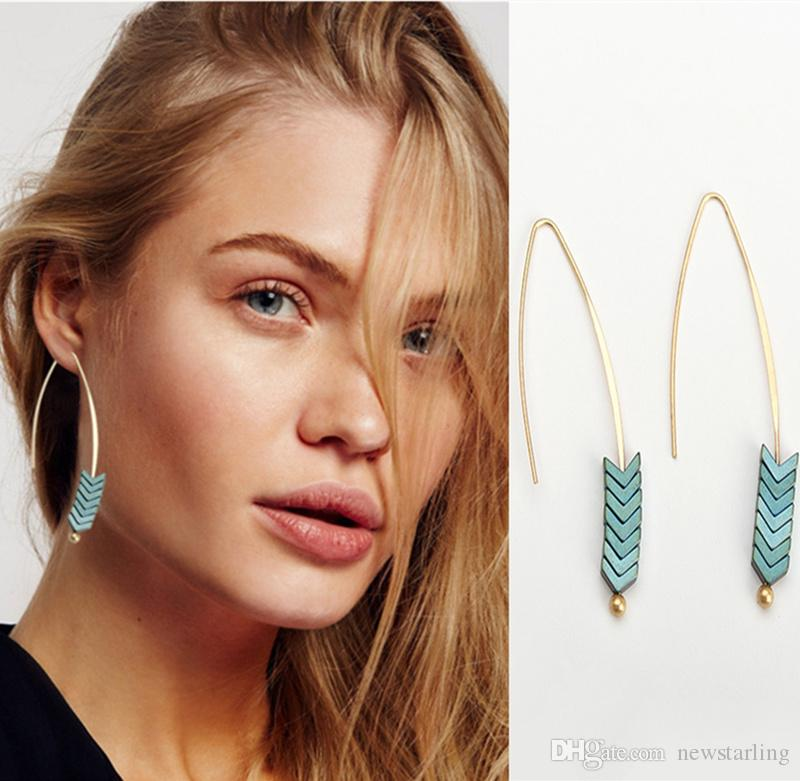 Vintage Punk Fishhook Arrow Charm Angle Dangle Earrings For Women Retro Natural Stone Gold Hook Jewelry Party Fashion Show Accessories