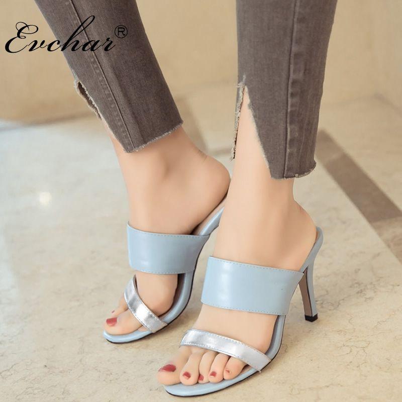 Damas Mujer Chanclas Súper Mujeres Evchar Fino Mezclado Gran Sandalias Zapatillas Alto Las Color Verano Tacón Zapatos De gyfYb67vI