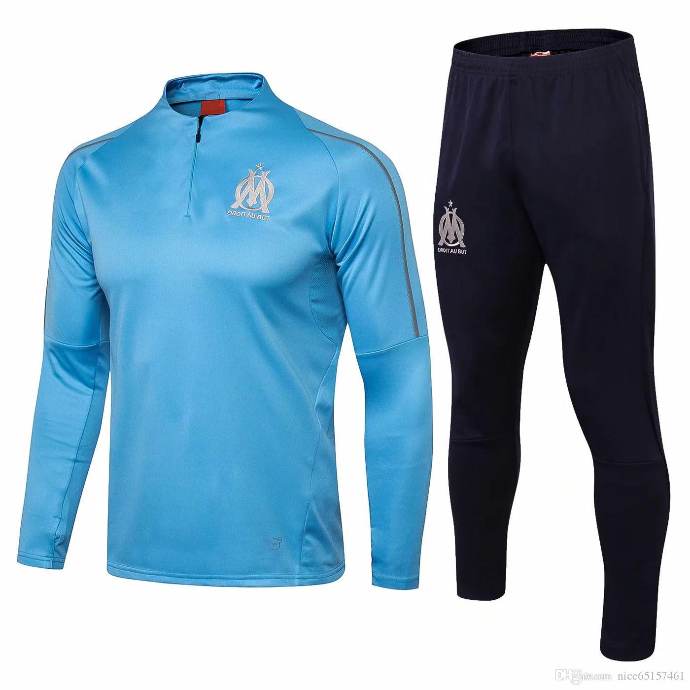 recognized brands buy sale pre order 2018 2019 OM Olympique de Marseille survetement Jacket Kits Mbappe PAYET  THAUVIN training suit Soccer 18/19 Tracksuit Sets Football