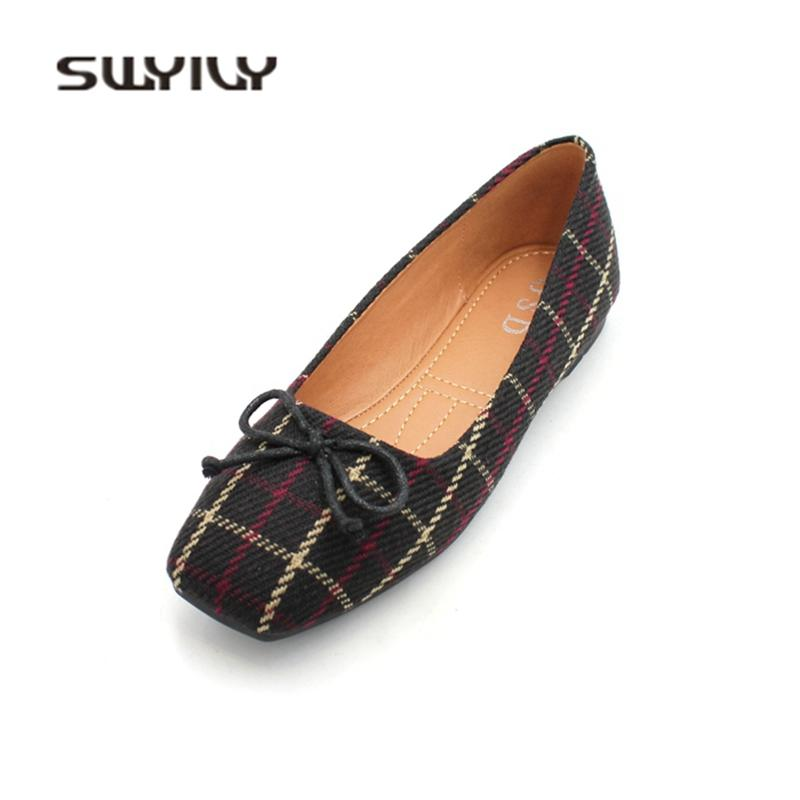 bdd013c4826 SWYIVY Flats Shoes Woman Size 41 Bow Square Toe Ballet Flats For Woman 2019  Spring Summer New Female Shoes Casual Loafers Plaid Women Shoes Mens Sandals  ...