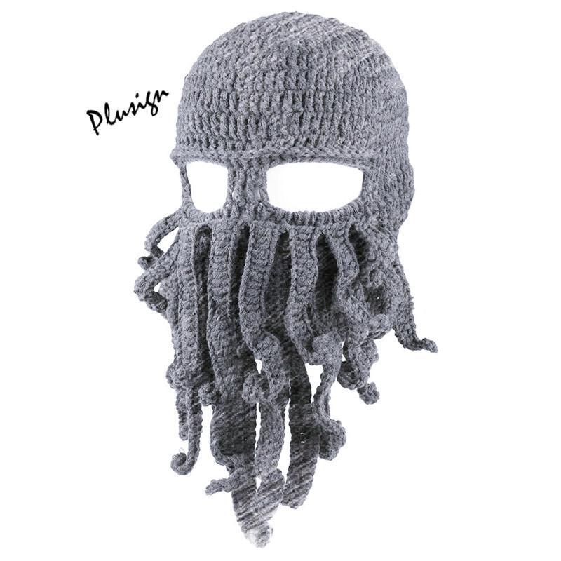 Compre Otoño Invierno Sombrero Tejido A Mano Crochet Calamar ...