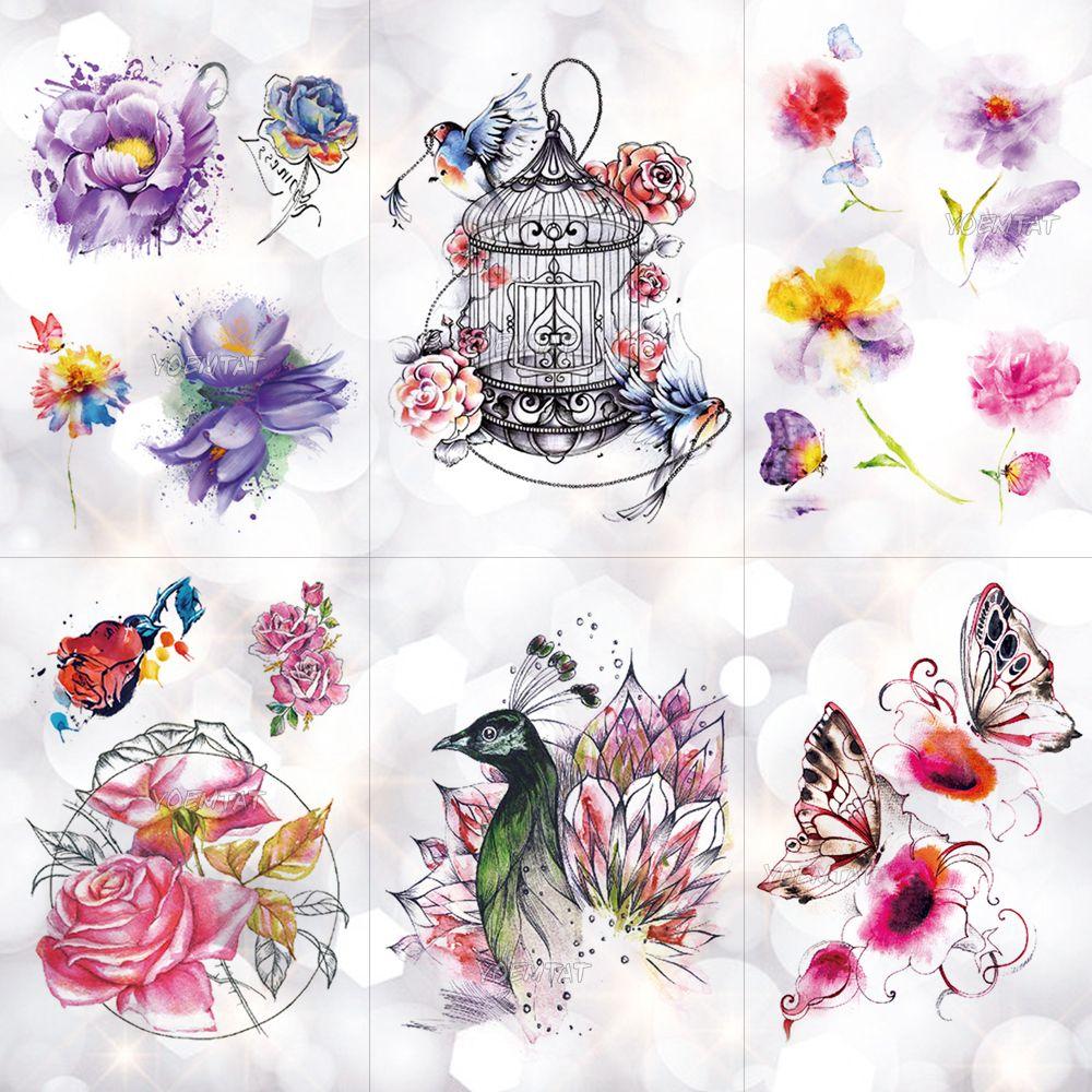 Jaula De Pájaros Flores De Pavo Real Impermeable Tatuaje Temporal
