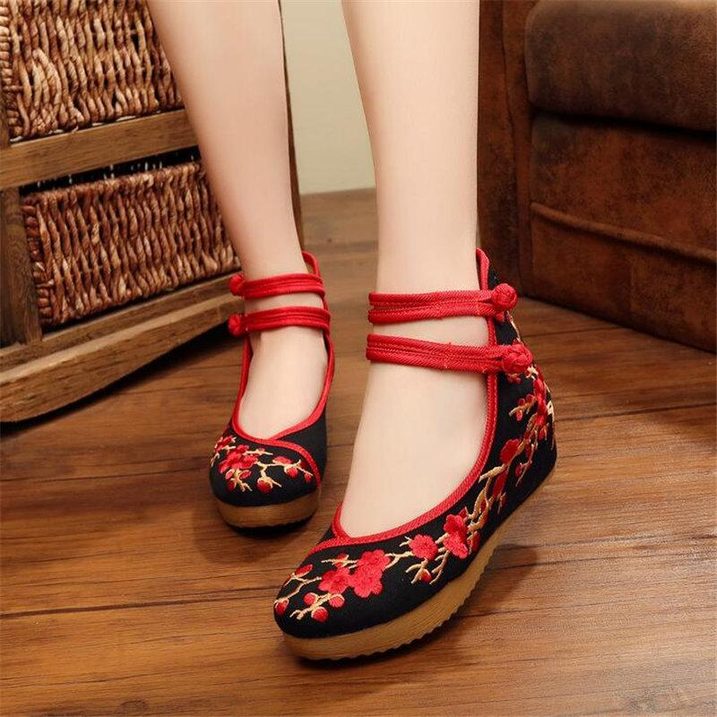 7b73d0ed278e6 Designer Dress Shoes Akexiya Classical embroidery Asian ethnic style women  s tendon bottom increase Performance Black and red AK59