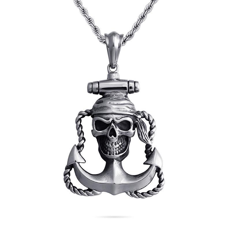 Acheter Collier Ancre De Bateau Squelette En Acier Inoxydable Croix