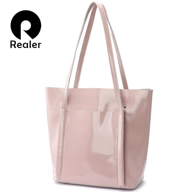 a99a222554 REALER Shoulder Bag Women Soft Patent Leather Tote Bag Female Handbags For  Women 2018 Summer Pink Ladies Brand Designer Handbag Wholesale Hobo Purses  From ...