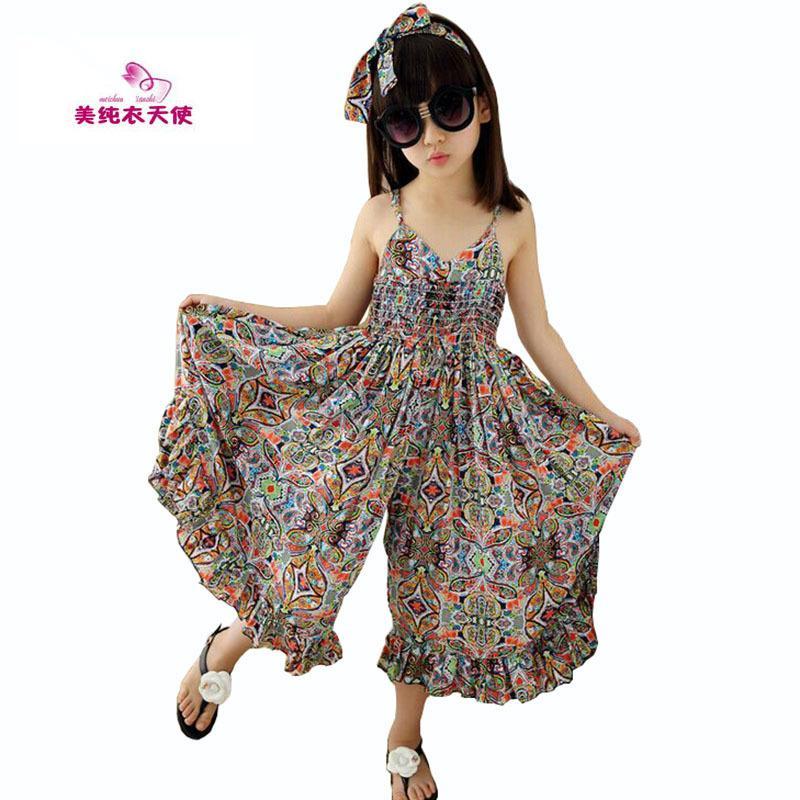01b1872baa3e 2019 Girls Dress Bohemia Children Summer Beach Dress For Girls Print ...