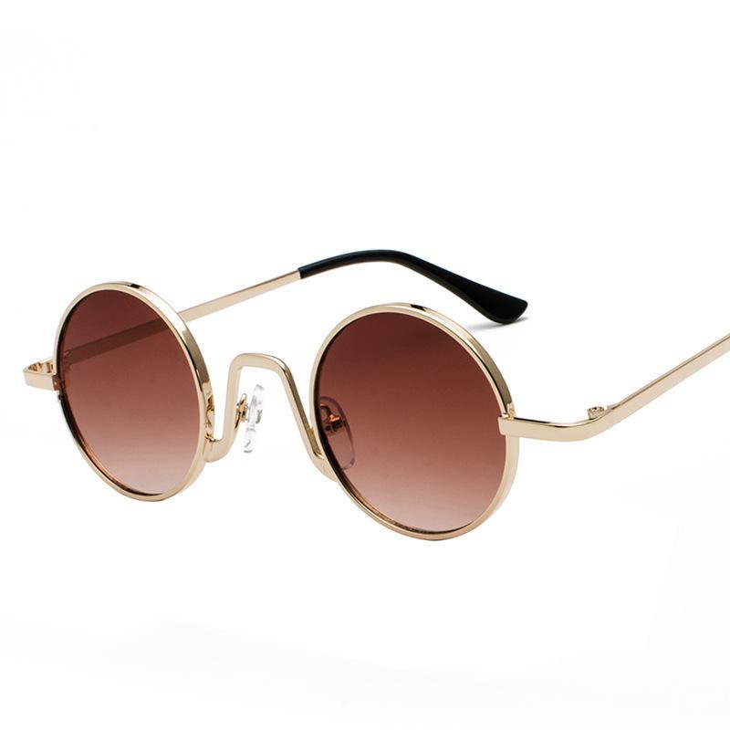 Sun Vintage 2019 Punk Circle Sunglasses And Metal Uv400 Small Glasses Gold Retro Round Women For Black Men PkXOZuiT