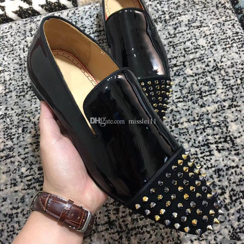 Luxury Designer Dandelion Genuine Leather Loafers High Quality Red Bottom Oxford Gentleman Black Glitter Spikes Moccasin Walking